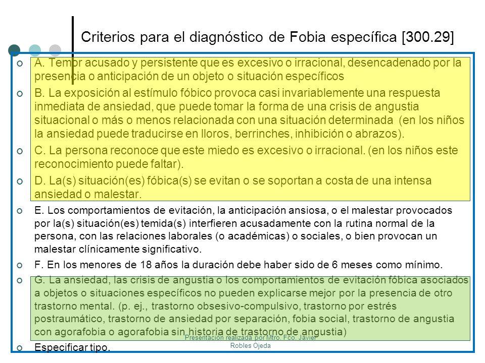 Criterios para el diagnóstico de Fobia específica [300.29]
